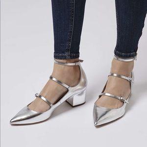 Topshop Jolene Silver Metallic Strappy Chunky Heel